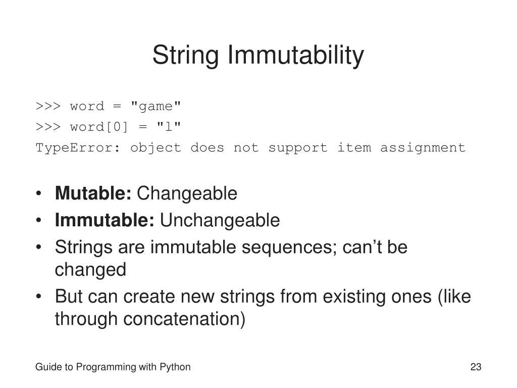String Immutability