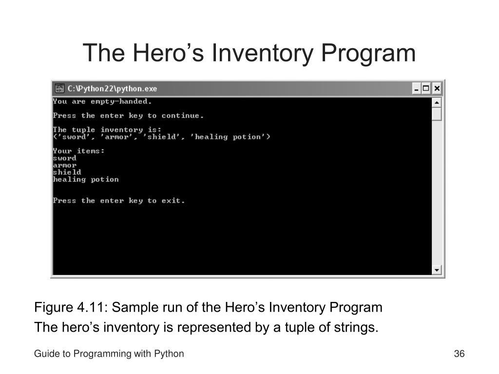 The Hero's Inventory Program