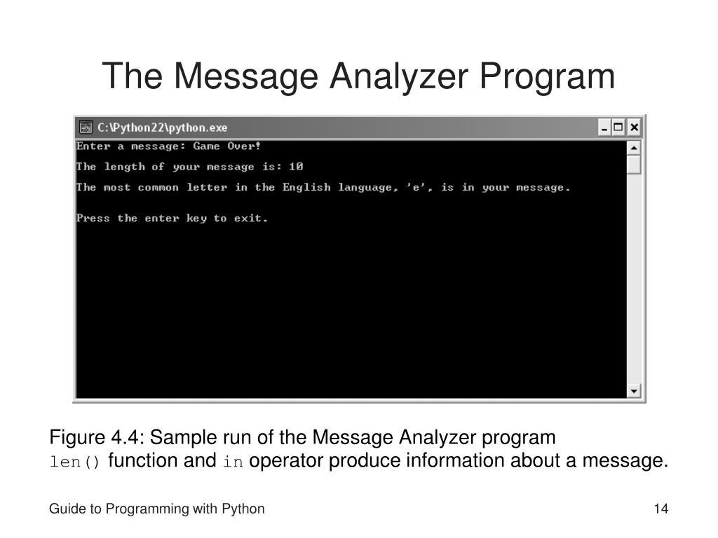 The Message Analyzer Program