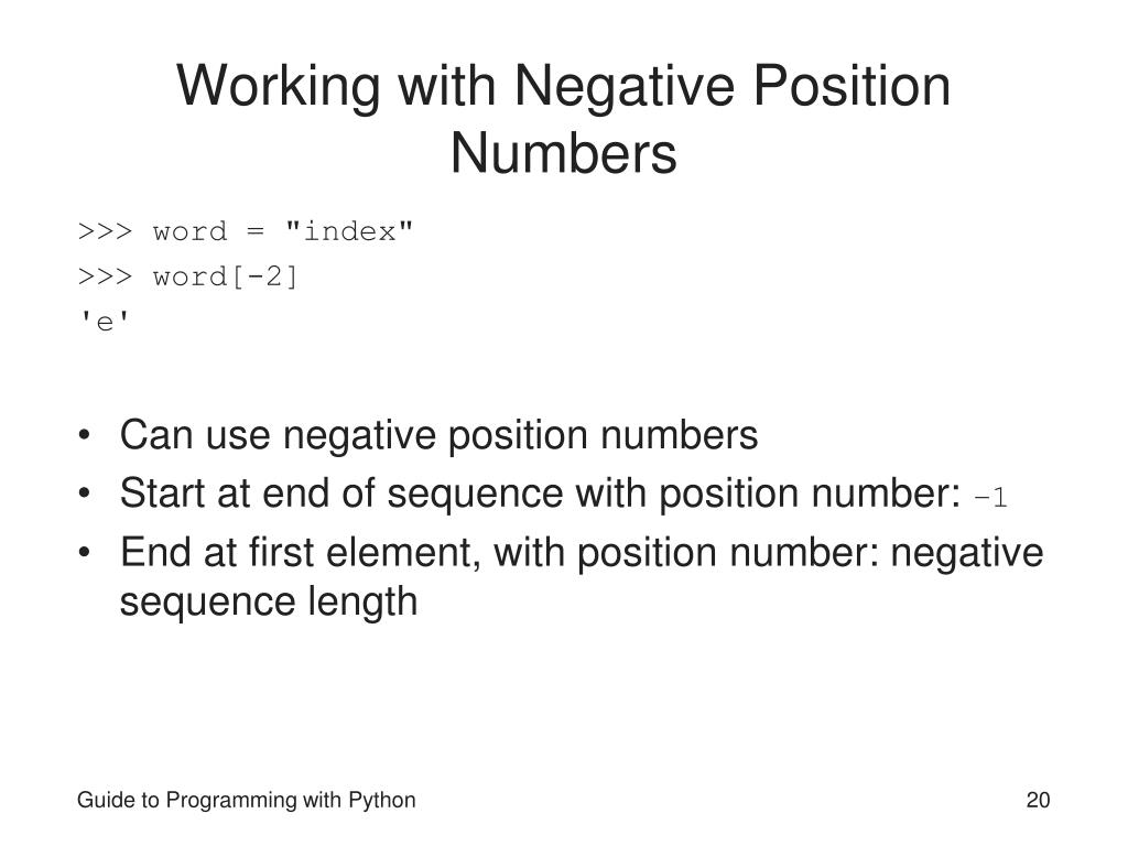 Working with Negative Position Numbers