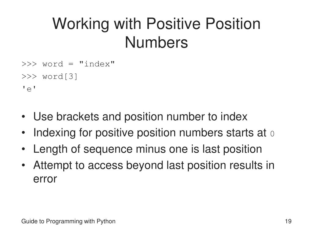 Working with Positive Position Numbers