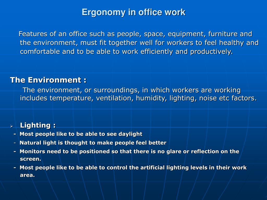 Ergonomy in office work