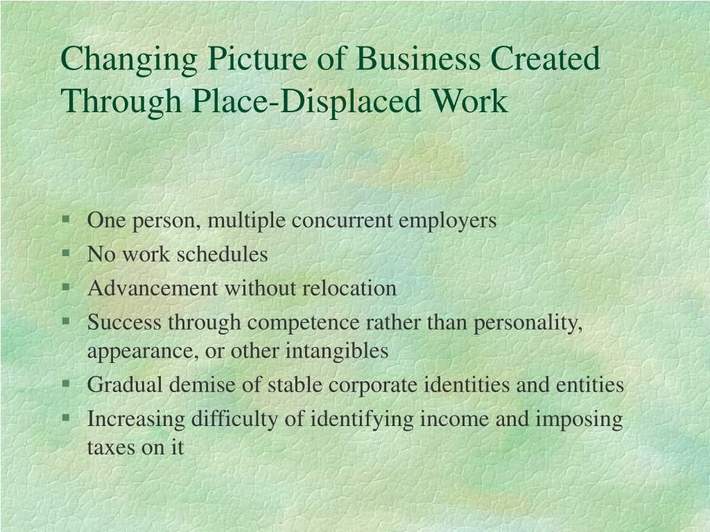 Changing Picture of Business Created Through Place-Displaced Work