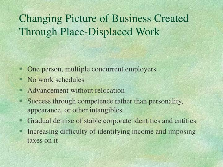 Changing picture of business created through place displaced work