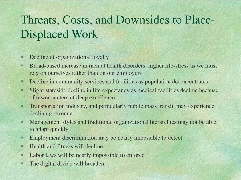 Threats, Costs, and Downsides to Place-Displaced Work