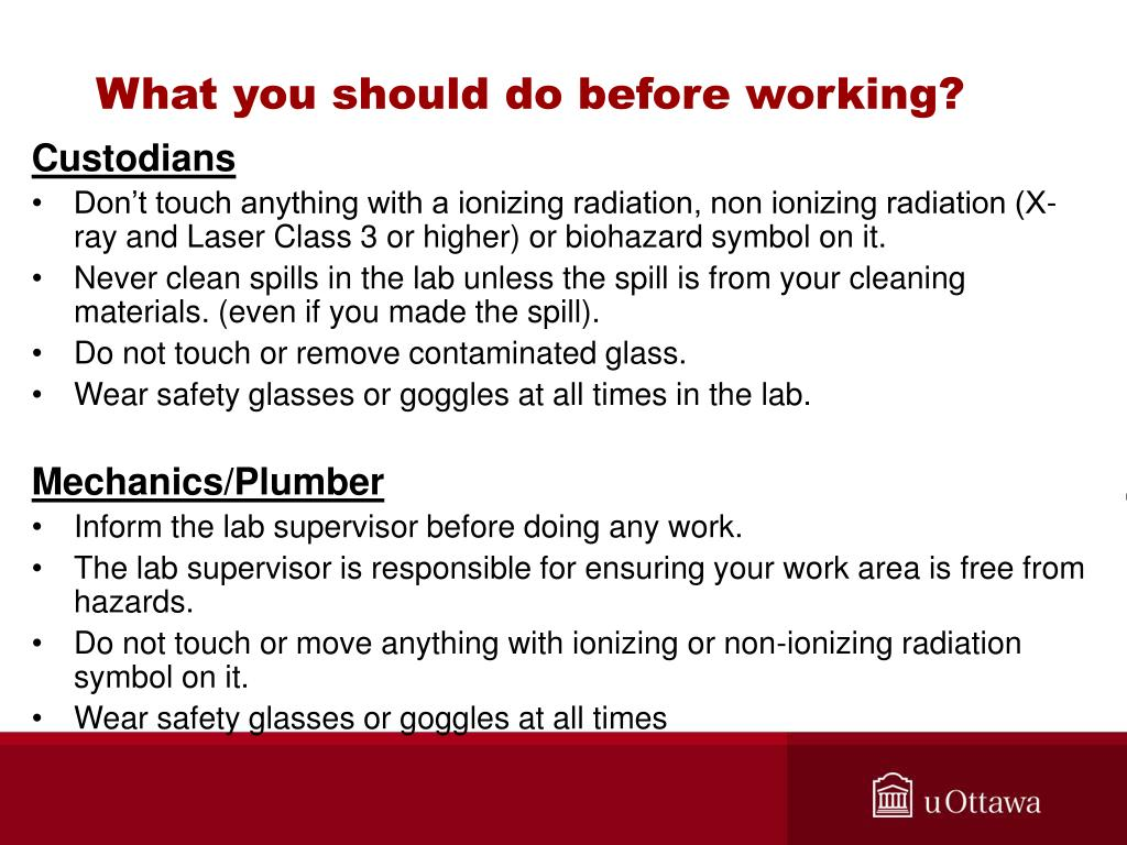 What you should do before working?