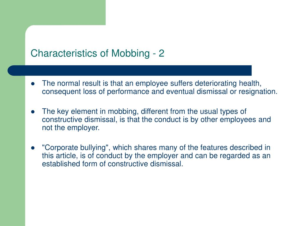 Characteristics of Mobbing - 2
