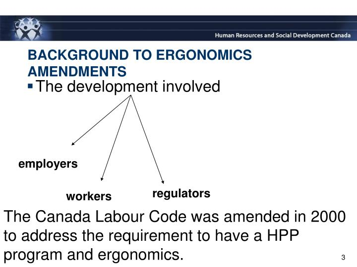 Background to ergonomics amendments