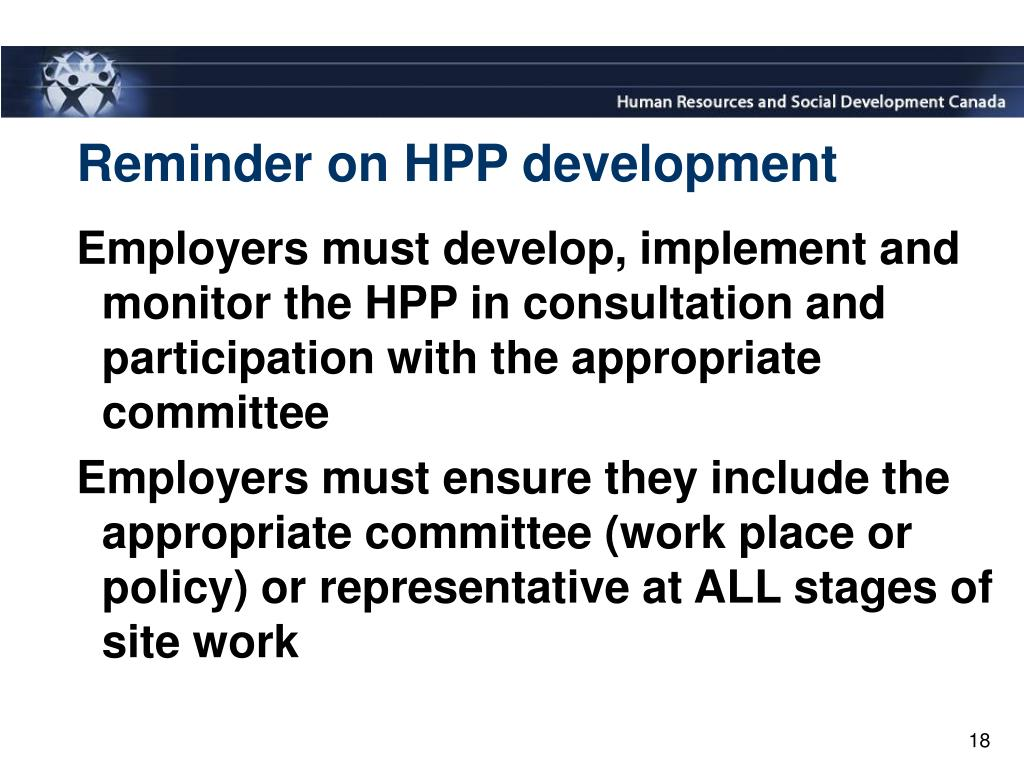 Reminder on HPP development
