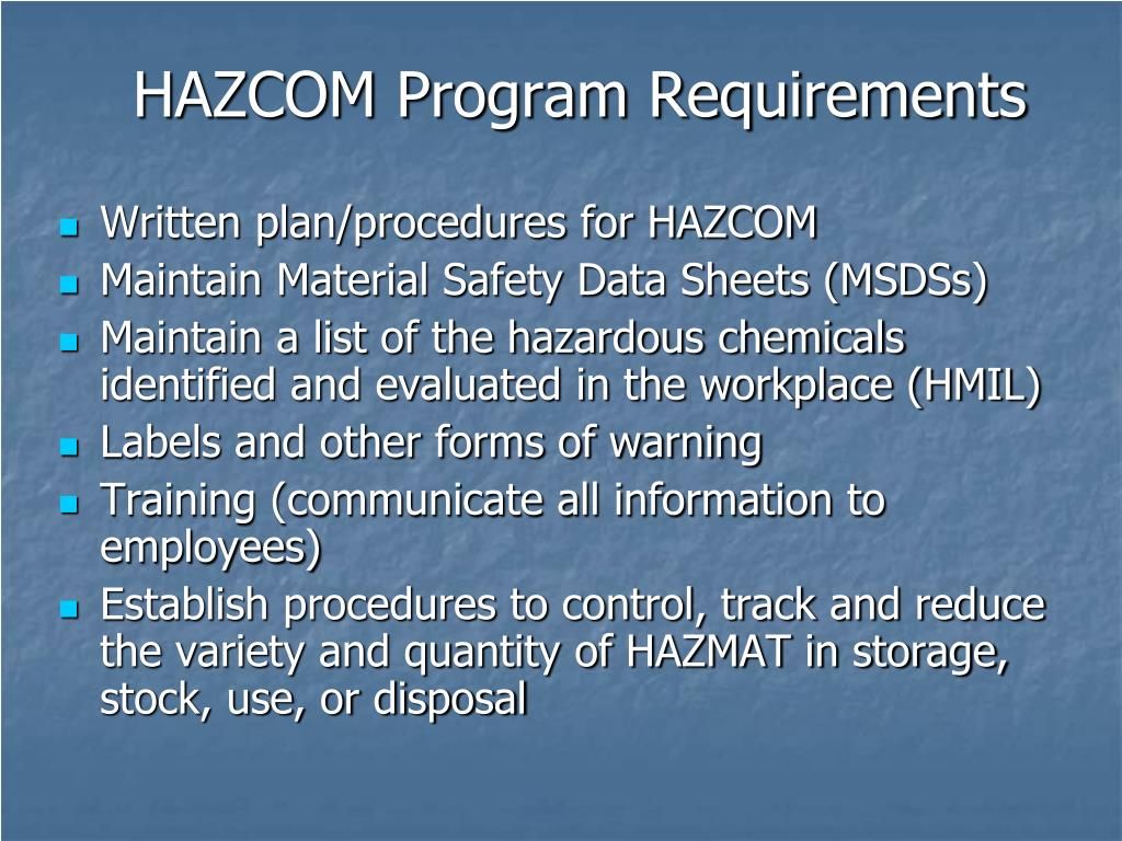 HAZCOM Program Requirements