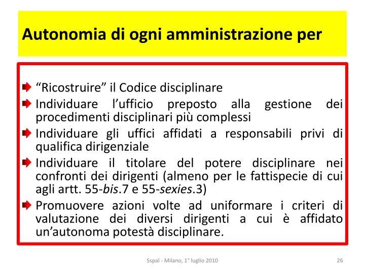 Autonomia di ogni amministrazione per