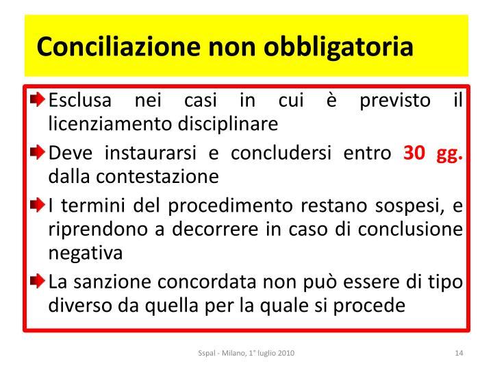 Conciliazione non obbligatoria