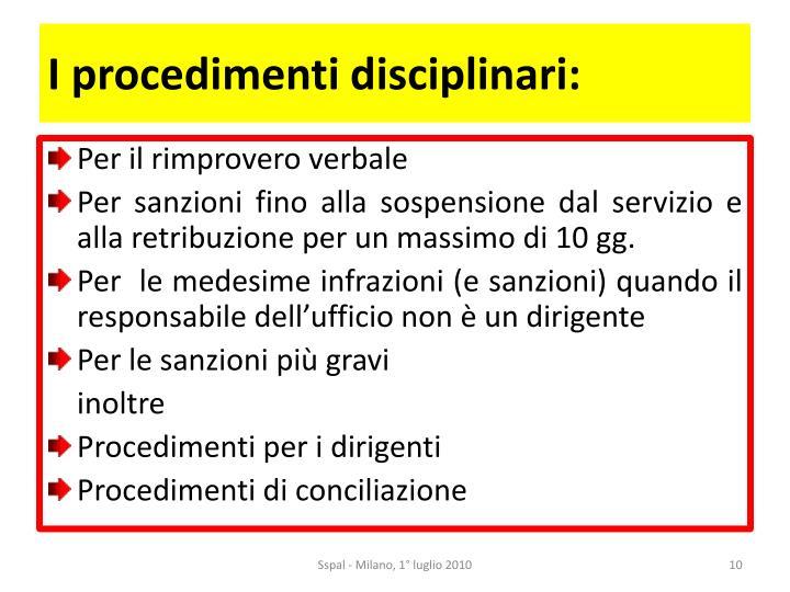 I procedimenti disciplinari: