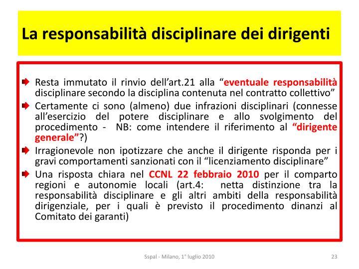 La responsabilità disciplinare dei dirigenti
