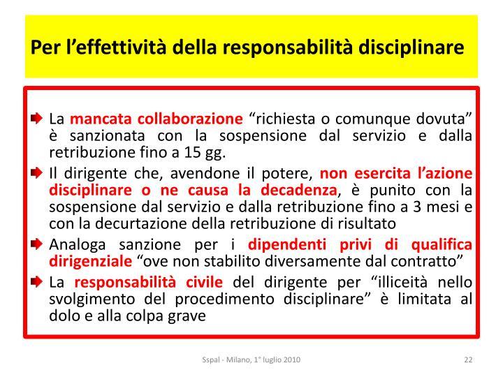 Per l'effettività della responsabilità disciplinare