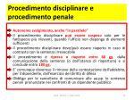 procedimento disciplinare e procedimento penale