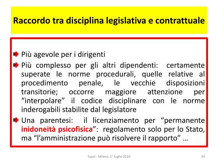 Raccordo tra disciplina legislativa e contrattuale