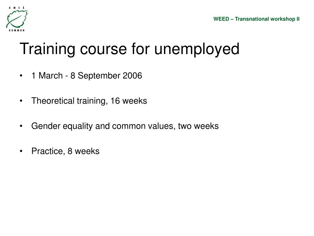 Training course for unemployed