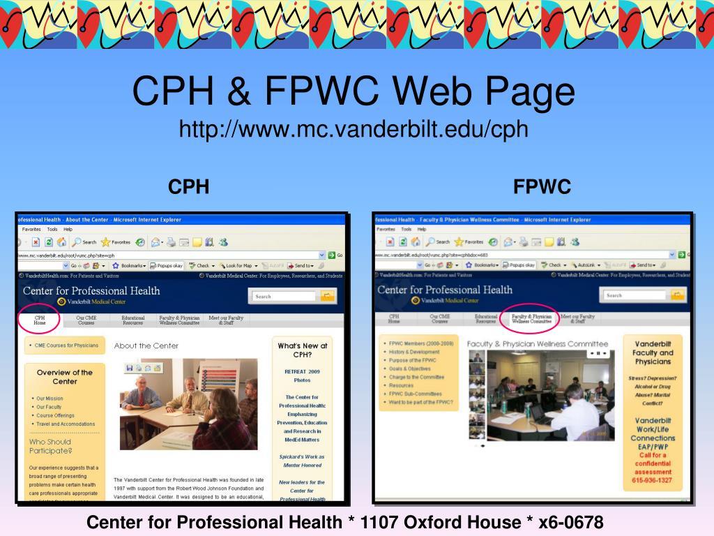 CPH & FPWC Web Page