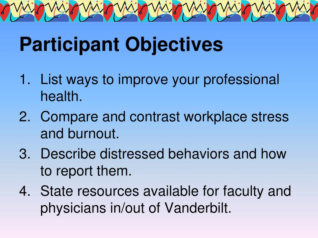 Participant Objectives