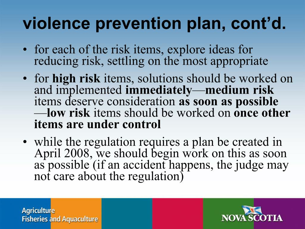 violence prevention plan, cont'd.