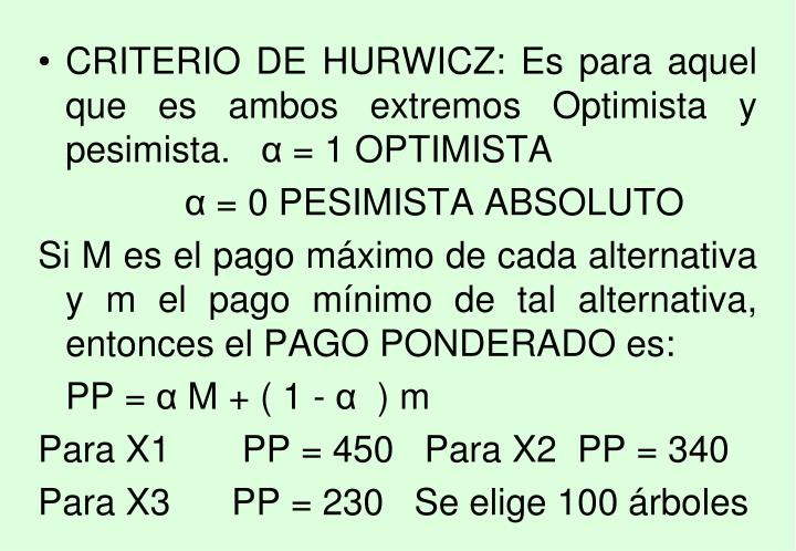 CRITERIO DE HURWICZ: Es para aquel que es ambos extremos Optimista y pesimista.