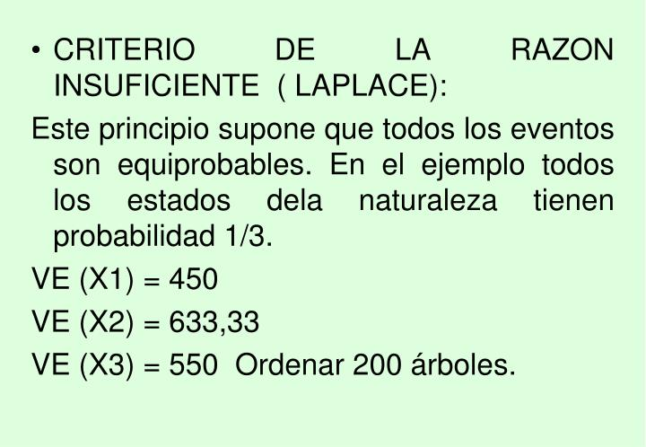CRITERIO DE LA RAZON INSUFICIENTE  ( LAPLACE):