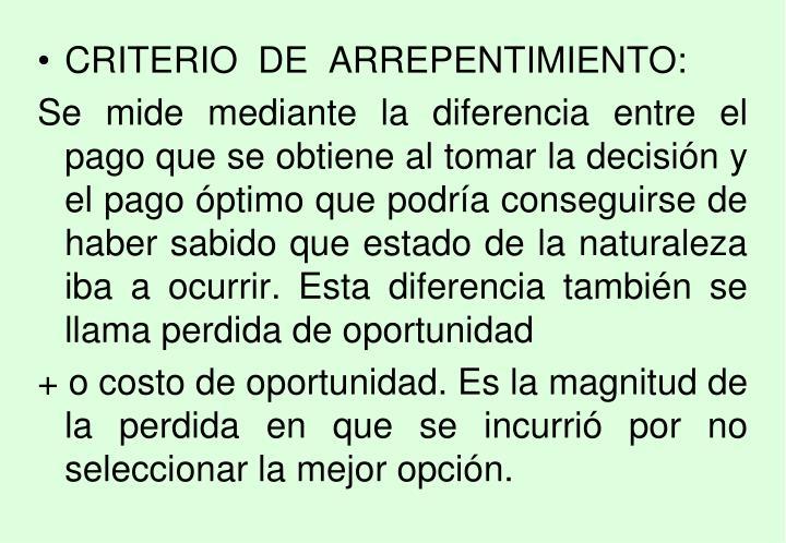 CRITERIO  DE  ARREPENTIMIENTO: