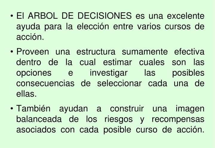 El ARBOL DE DECISIONES es una excelente ayuda para la elección entre varios cursos de acción.
