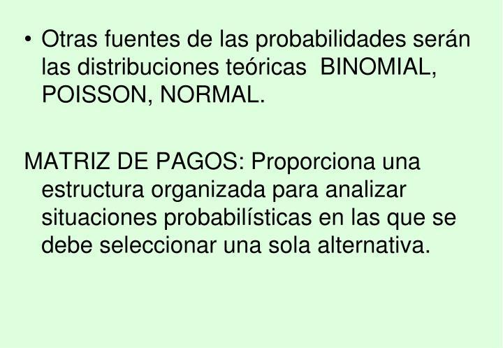 Otras fuentes de las probabilidades serán las distribuciones teóricas  BINOMIAL, POISSON, NORMAL.