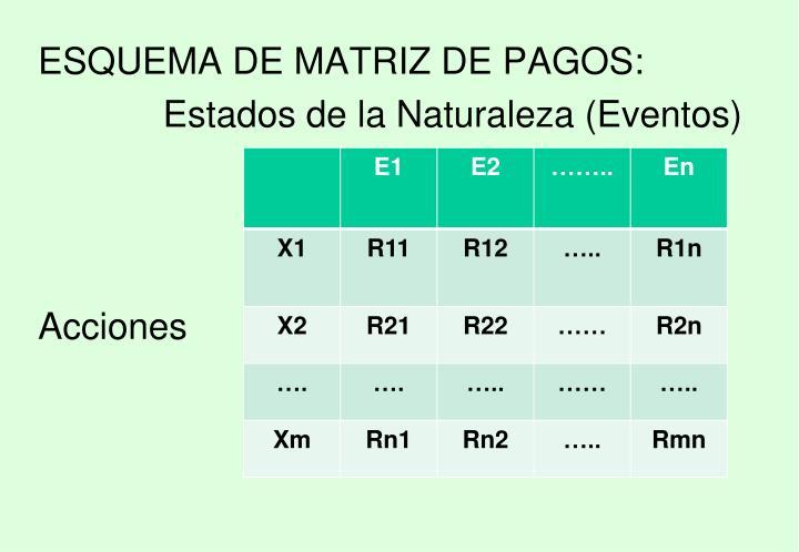 ESQUEMA DE MATRIZ DE PAGOS: