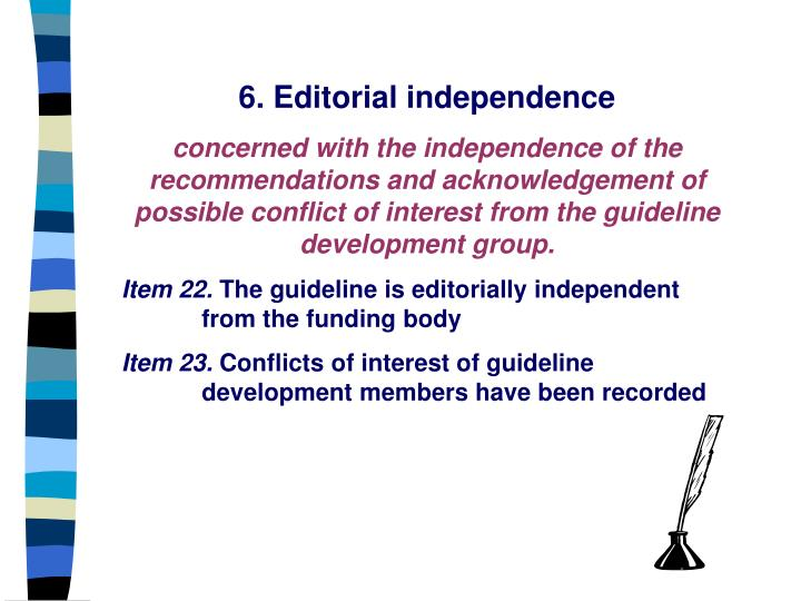 6. Editorial independence