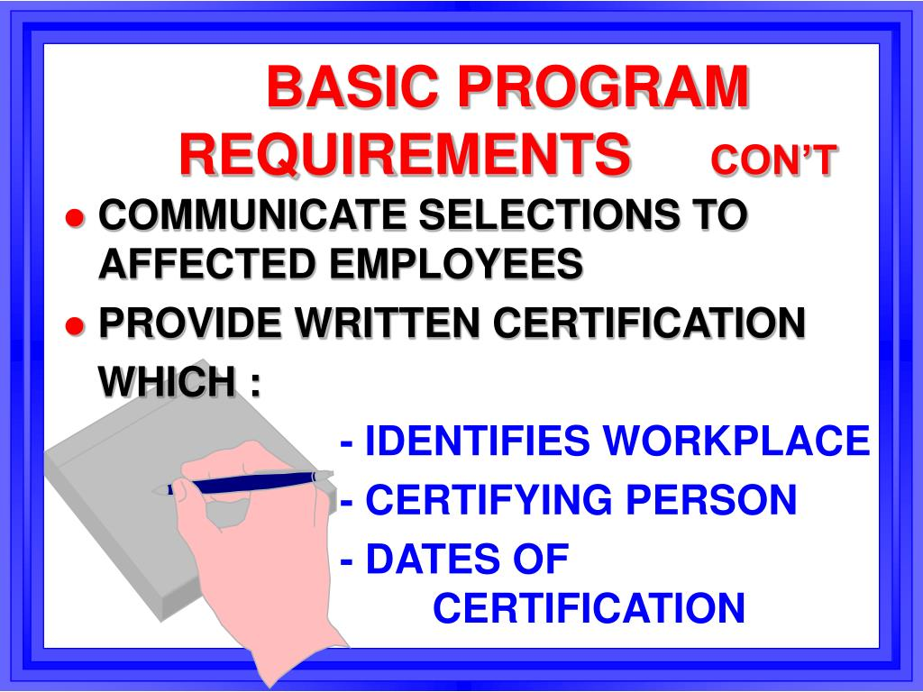 BASIC PROGRAM REQUIREMENTS