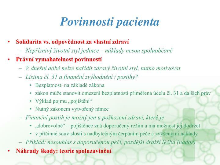 Povinnosti pacienta