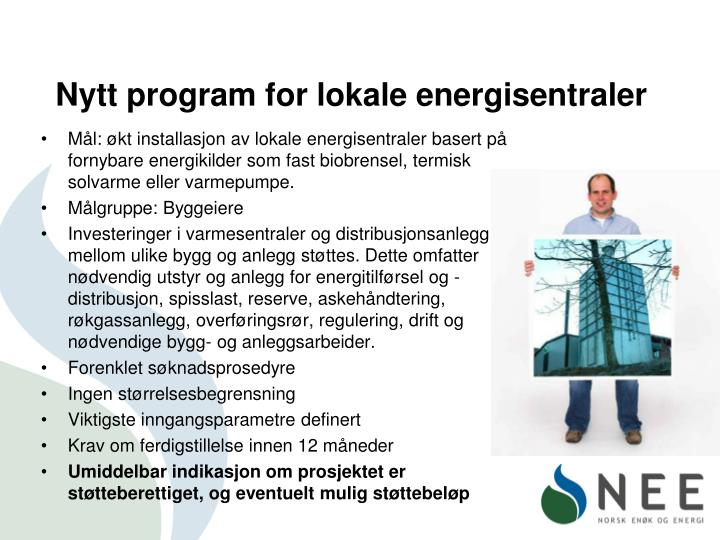 Nytt program for lokale energisentraler