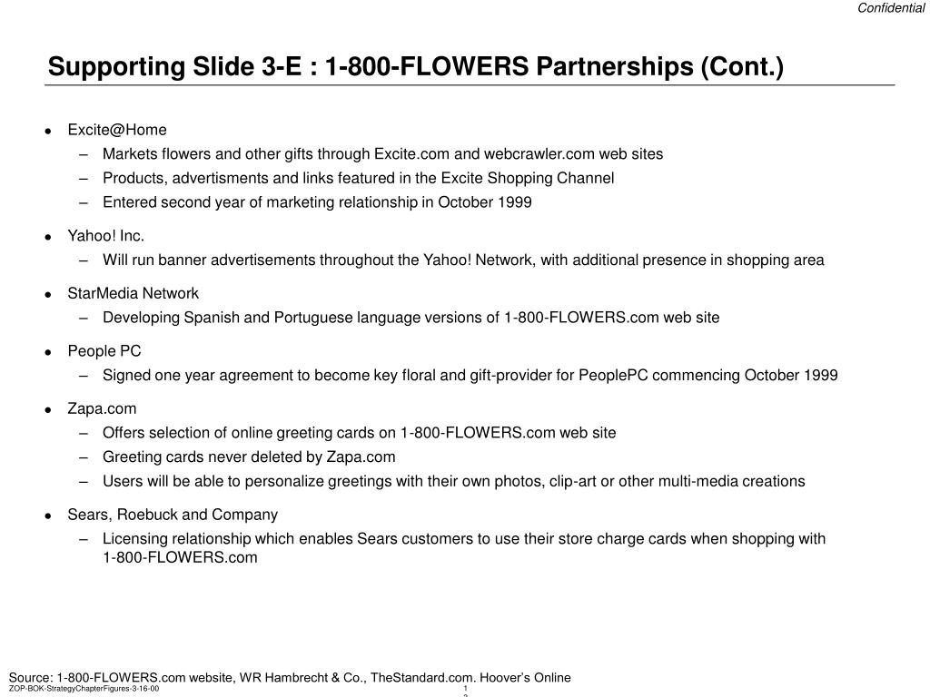 Supporting Slide 3-E : 1-800-FLOWERS Partnerships (Cont.)