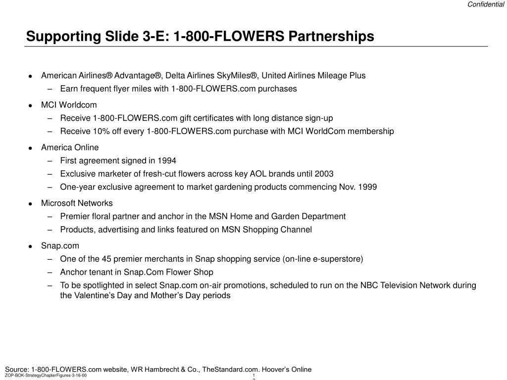 Supporting Slide 3-E: 1-800-FLOWERS Partnerships