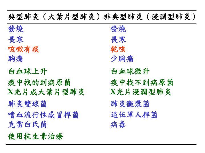 典型肺炎(大葉片型肺炎)非典型肺炎(浸潤型肺炎)