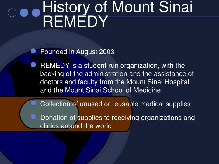 History of mount sinai remedy