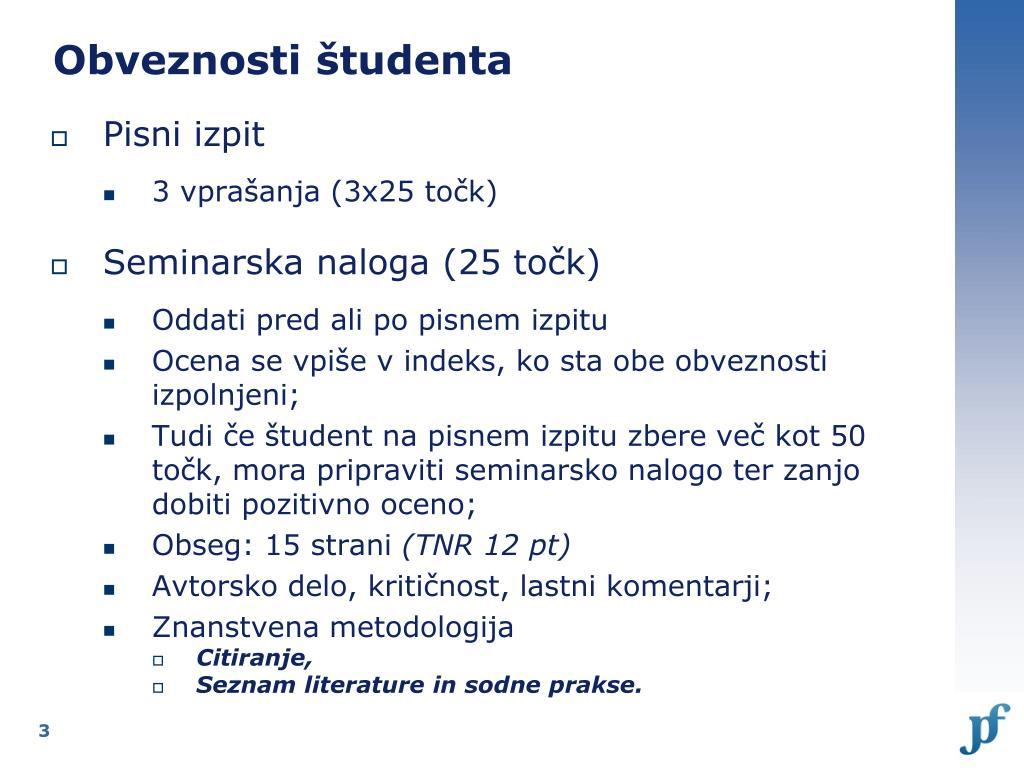 Obveznosti študenta