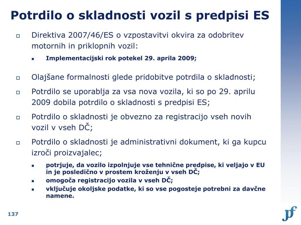 Potrdilo o skladnosti vozil s predpisi ES