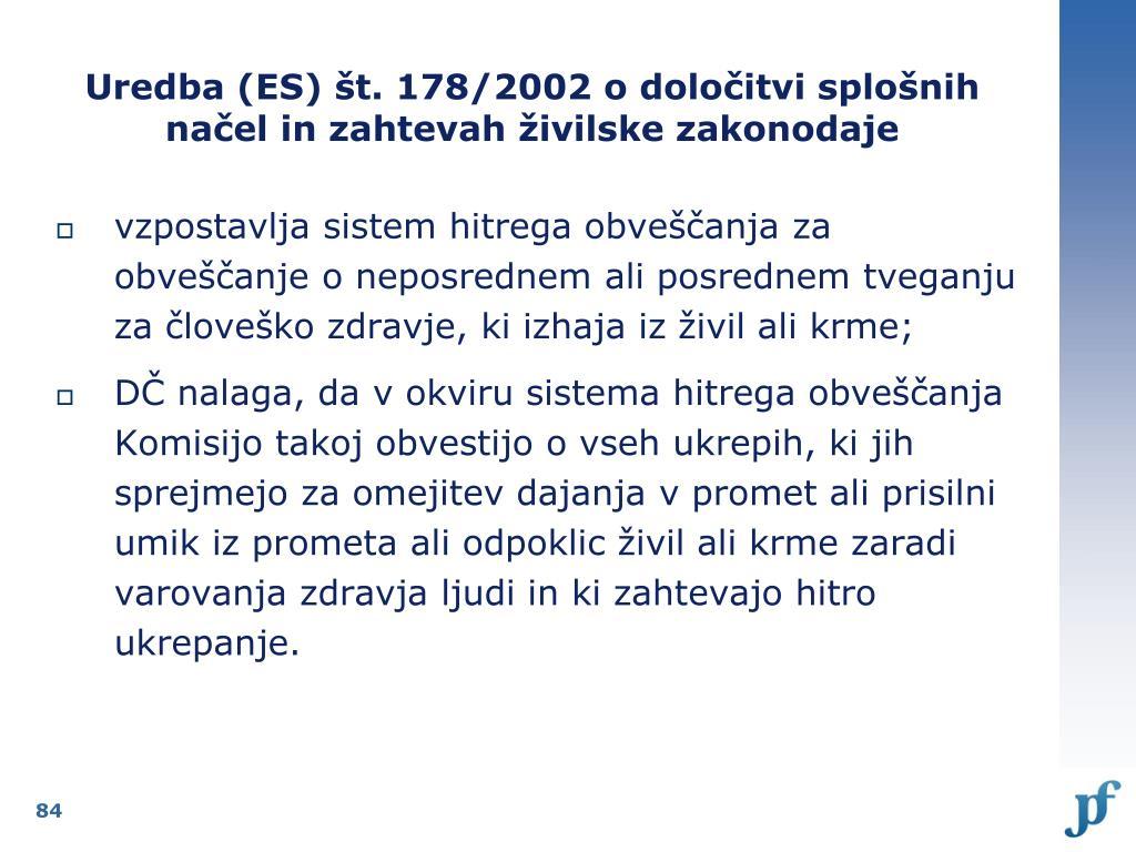 Uredba (ES) št. 178/2002 o določitvi splošnih načel in zahtevah živilske zakonodaje
