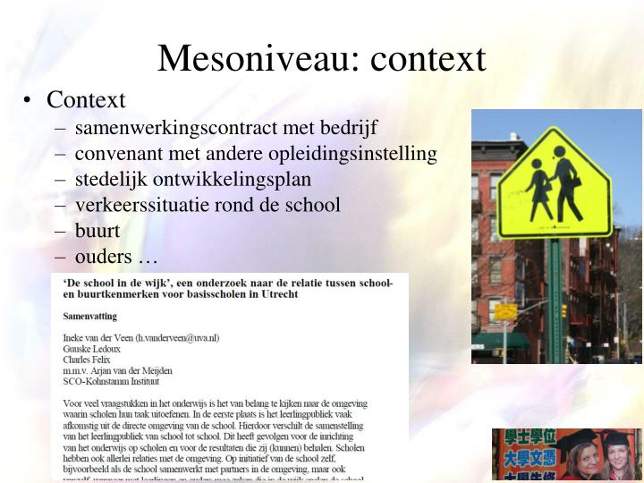 Mesoniveau: context