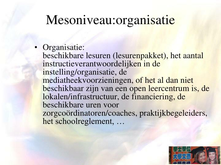 Mesoniveau:organisatie