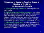 categories of measures possibly caught in violation of art 28 by the dassonville formula