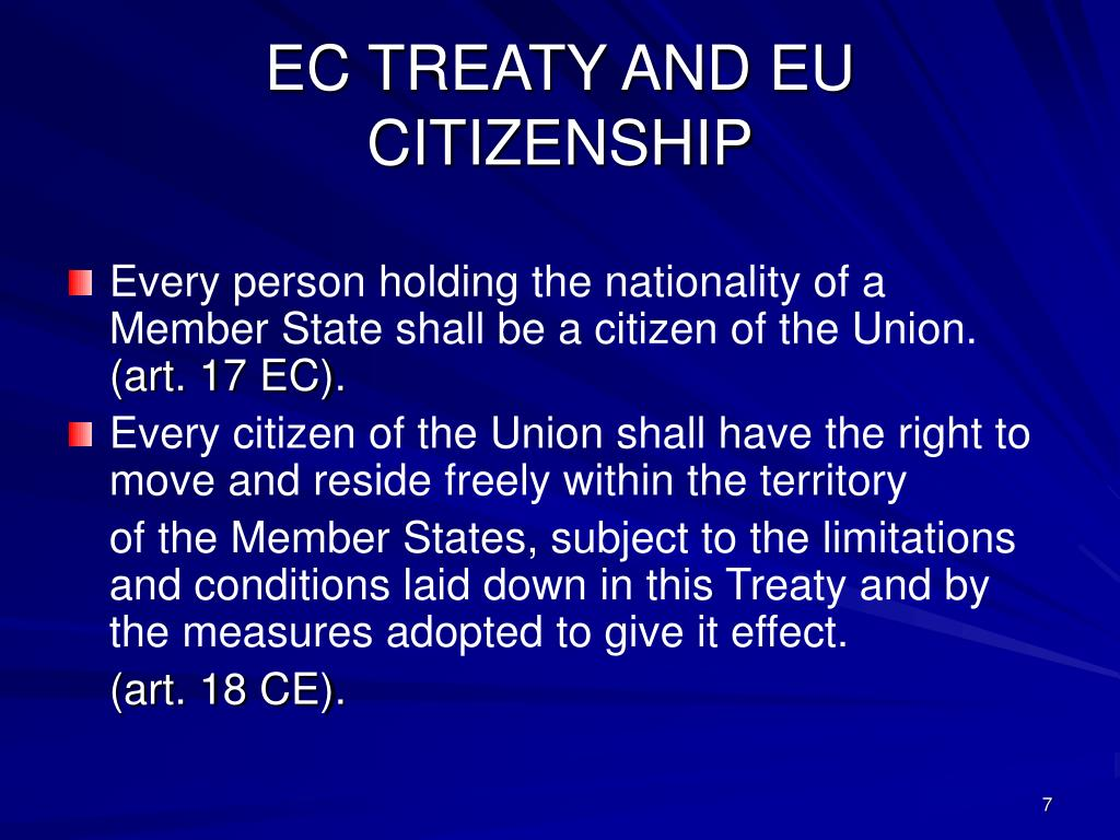 EC TREATY AND EU CITIZENSHIP