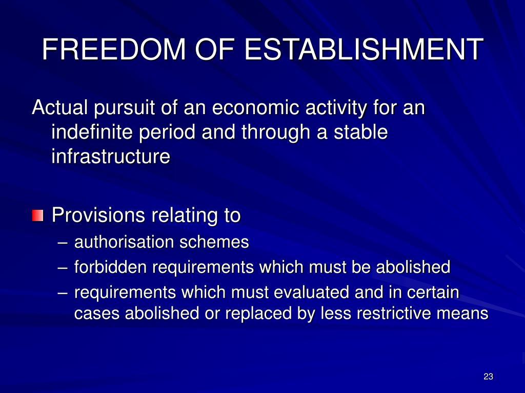 FREEDOM OF ESTABLISHMENT
