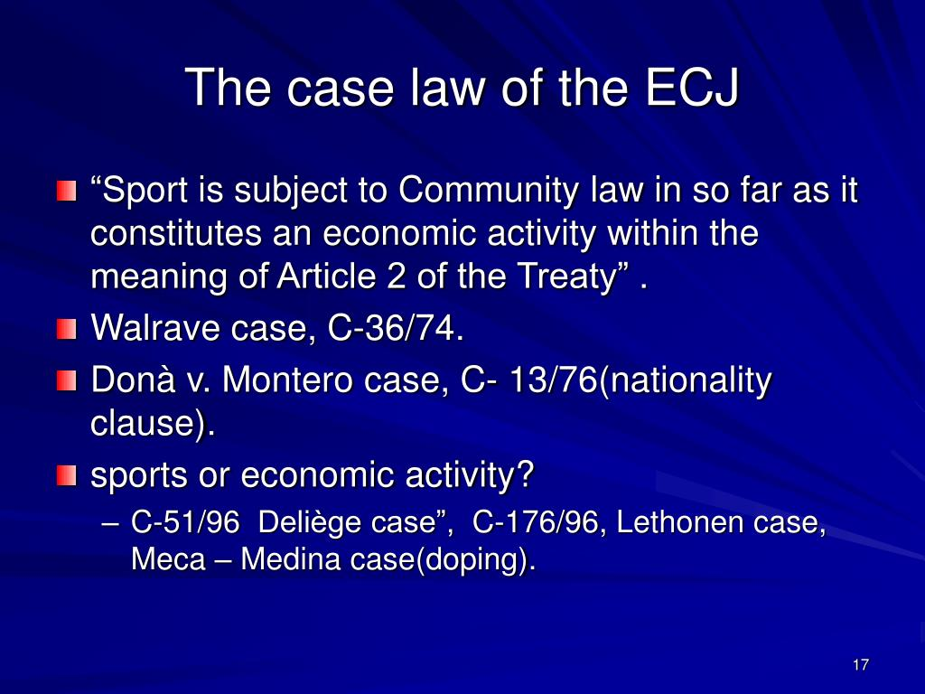 The case law of the ECJ