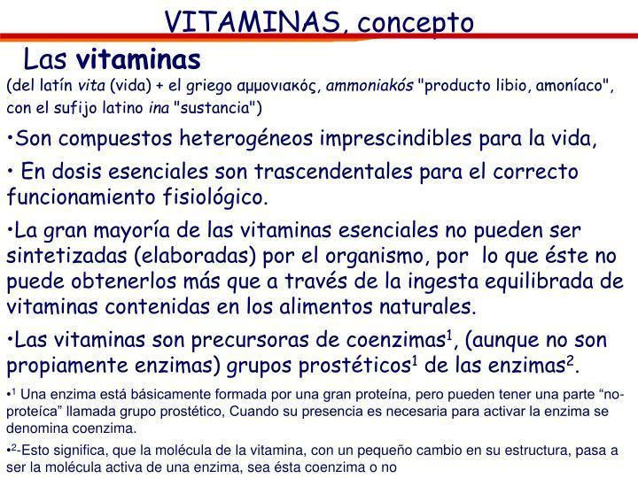 VITAMINAS, concepto