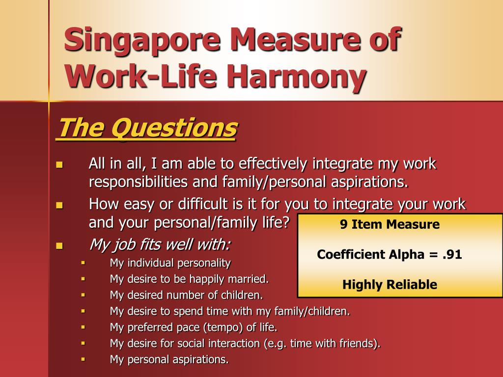 Singapore Measure of Work-Life Harmony